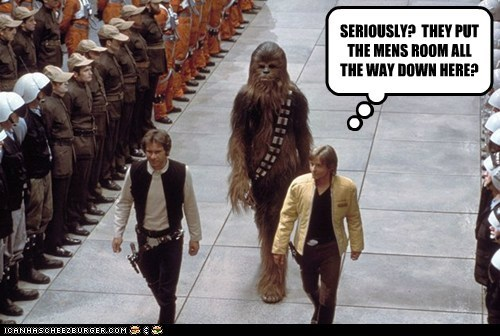chewbacca confused Han Solo Harrison Ford line long walk luke skywalker Mark Hamill Mens Room star wars - 6577934336