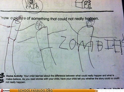 could not happen,kids these days,test humor,zombie