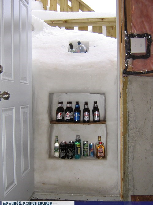 alcohol storage,snow,snowed in,winter