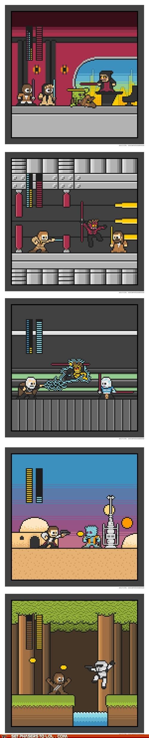 8 bit boss battles Fan Art mashup mega man NES star wars