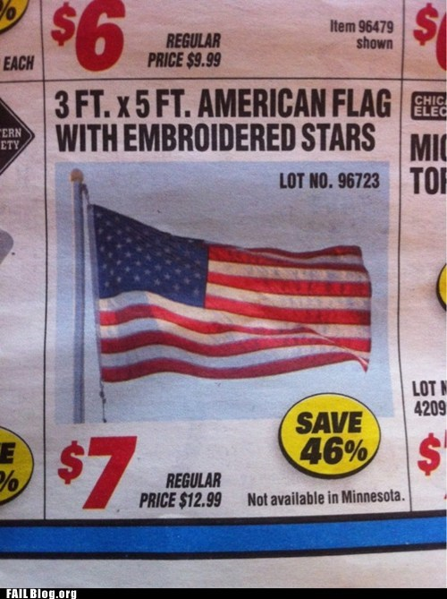 advertisement,flag,Minnesota,patriotism,sale