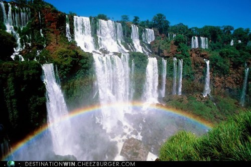double rainbow,landscape,pretty colors,rainbow,waterfall