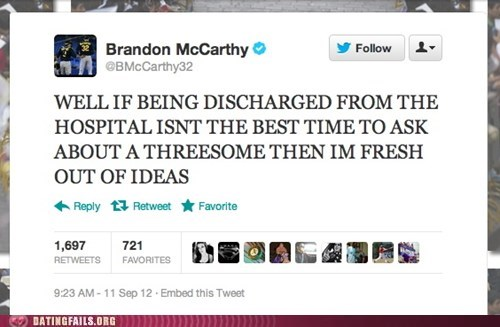 baseball,brandon mccarthy,discharged from the hospi,discharged from the hospital,oakland athletics,threesome
