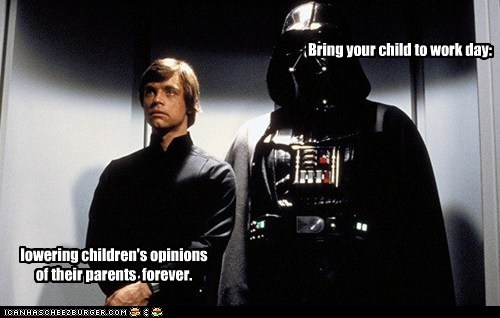 Awkward,bring your child to work,child,darth vader,lower,luke skywalker,Mark Hamill,opinions,parents,star wars