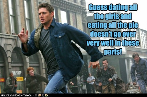 dean winchester,jensen ackles,dating,pie,running,angry,Supernatural