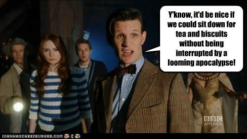 the doctor doctor who Matt Smith karen gillan arthur darvill rory williams amy pond tea nice annoyed apocalypse - 6579143424