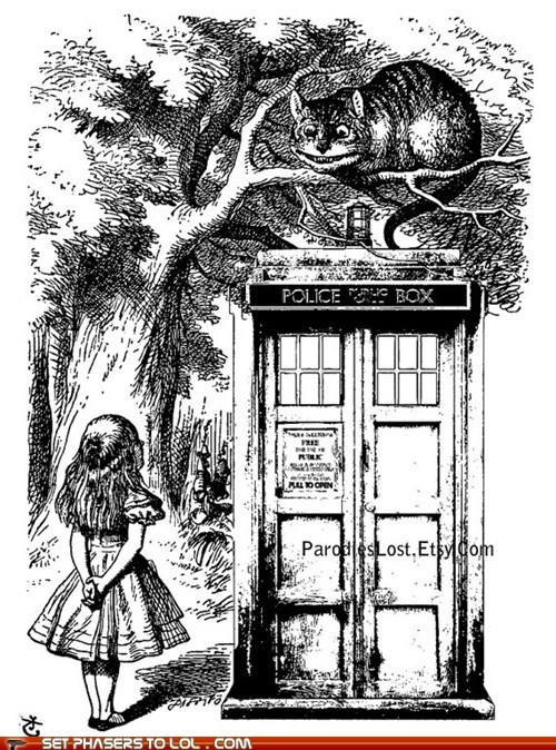 alice in wonderland,cheshire cat,doctor who,Fan Art,mashup,tardis