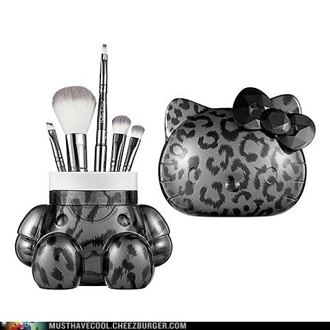 brushes,container,hello kitty,makeup,makeup brushes,set