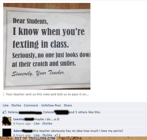 facebook p3n0r texting in class - 6579691520