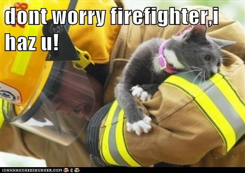 captions Cats firefighter rescue save - 6580350720