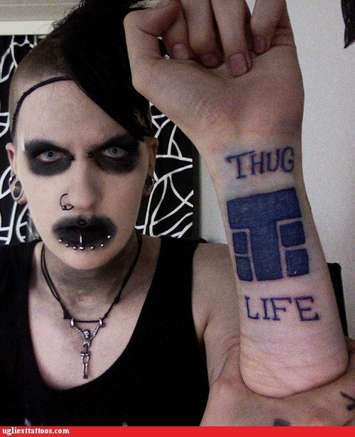 goth piercings thug life wrist tattoos - 6580372480