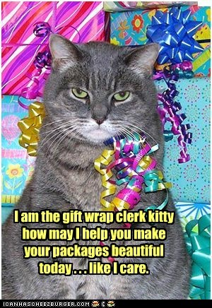 I am the gift wrap clerk kitty how may I help you make your packages beautiful today . . . like I care.