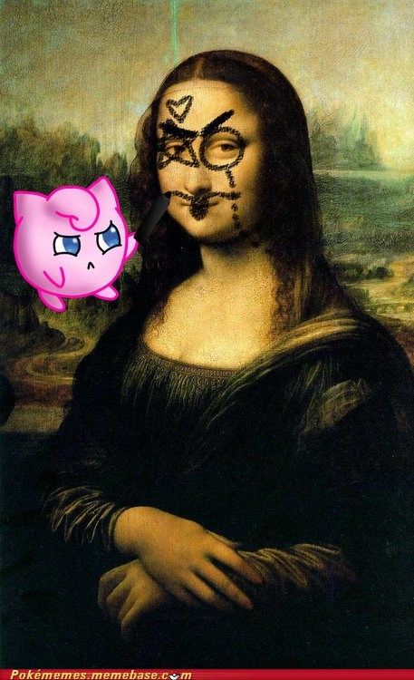 asleep,drawing,jigglypuff,mona lisa,sing
