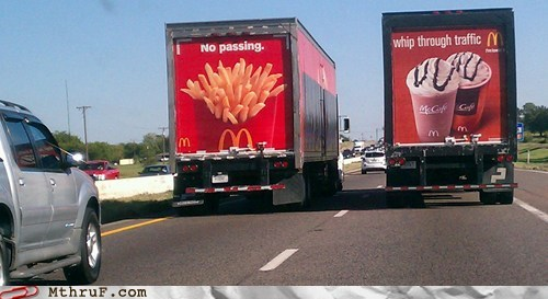McDonald's,no passing,semi trucks,whip through traffic