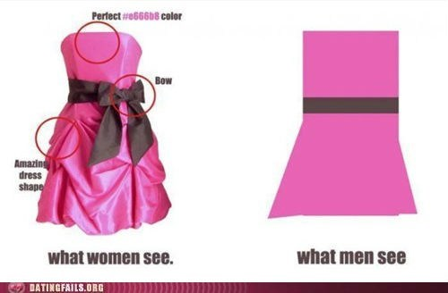 bow,dress,men vs women,what men see,what women see