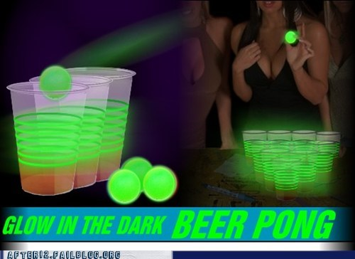 beer pong glow in the dark sloshed swag yes please