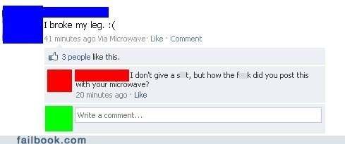 screen grab of a guy who broke his leg and then posted about it on Facebook, from his microwave