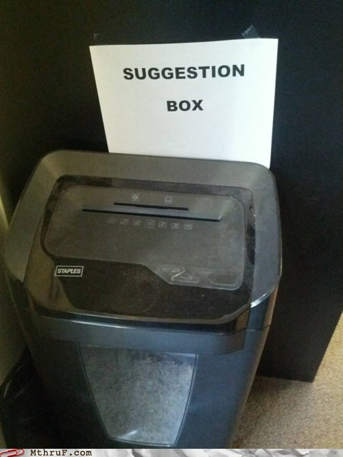 application processing,paper shredder,shredder,suggestion box