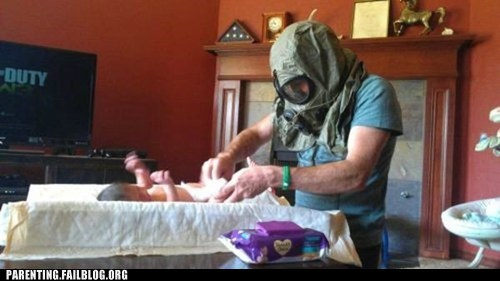 changing diapers gas mask poop