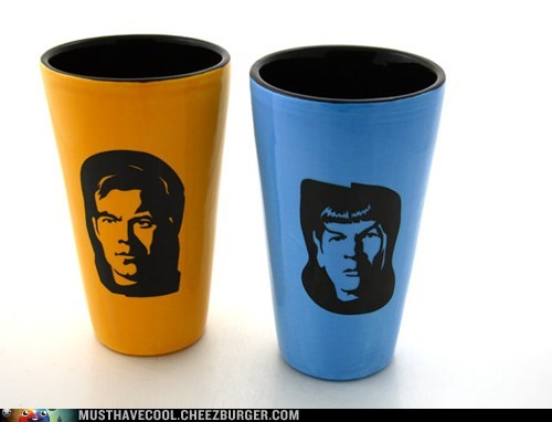 ceramic cups kirk mugs sci fi Spock Star Trek TV