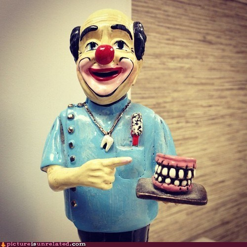 clown creepy dentistry laughing gas statue