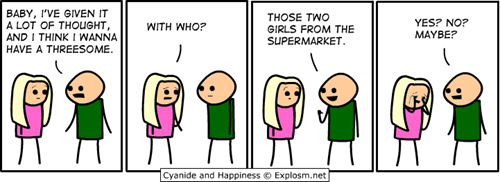 cyanide and happiness,maybe,sexytime,threesome,whats-the-problem