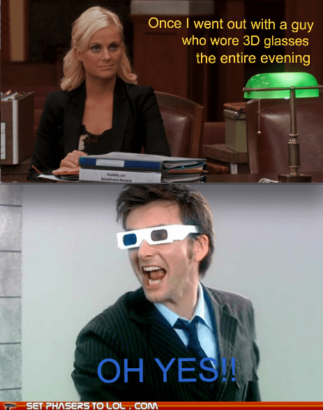 3d glasses,Amy Poehler,David Tennant,doctor who,parks and recreation,the doctor