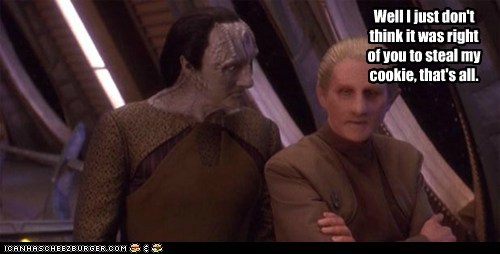 odo,gul dukat,kardassian,steal,Sad,cookies,Star Trek,Deep Space Nine
