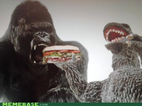 godzilla,king kong,omnomnom,sandwich