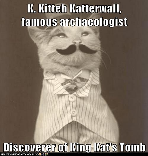 archaeologist cat explorer hat mustache vest - 6581755136