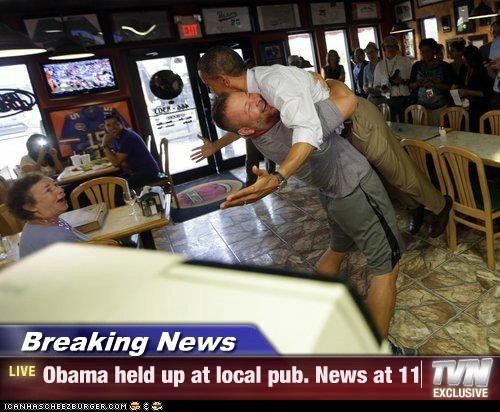 barack obama,pub,pizza place,held up,hugging,news,pun