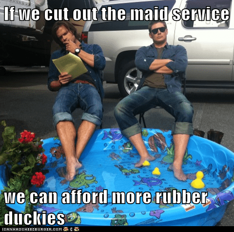 Supernatural,jensen ackles,Jared Padalecki,maid service,rubber duckies,sam winchester,dean winchester,financial advice