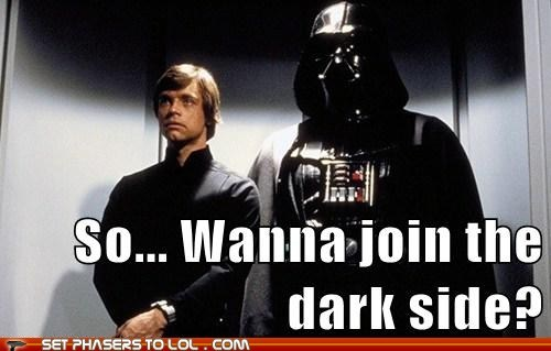Awkward,luke skywalker,star wars,darth vader,the dark side,Mark Hamill,join,elevator ride