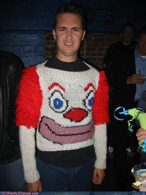 clown,sweater