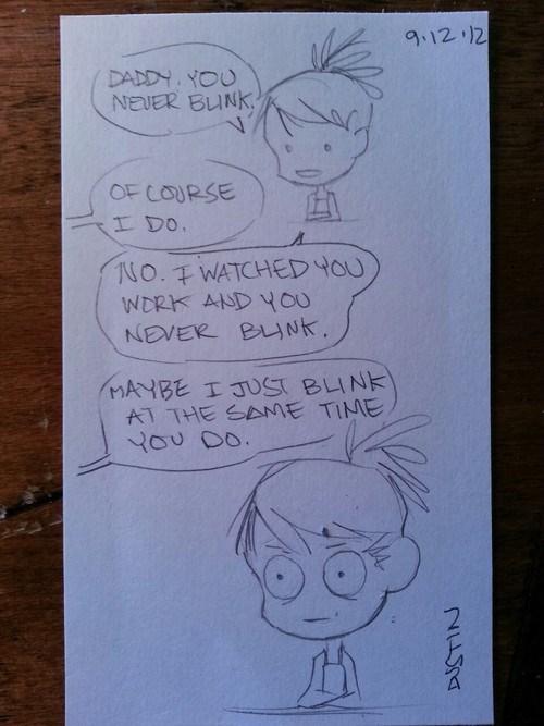 blinking,comic,fatherdaughter