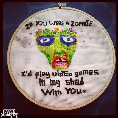 best of week Hall of Fame Knitta Please movies needle point nerdgasm Shaun Of the dead zombie - 6583029504