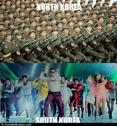 army,dancing,differences,gangnam style,North Korea,psy,south korea
