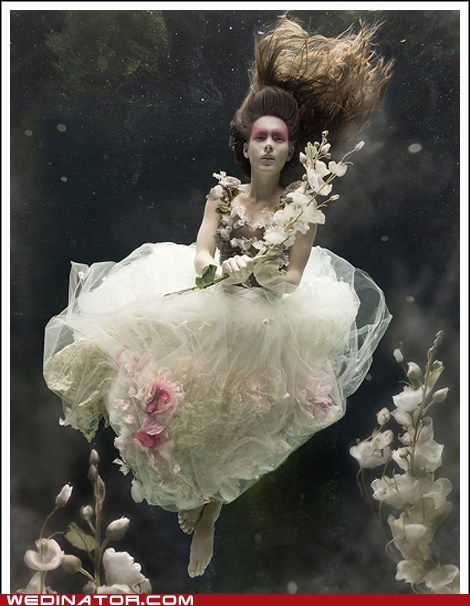 editorial makeup trash the dress underwater water