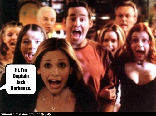 buffy summers,Buffy the Vampire Slayer,nicholas brendon,Captain Jack Harkness,screaming,excited,Sarah Michelle Gellar