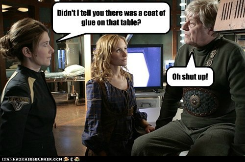 Stargate,stargate atlantis,Kimberly Warnat,Linara,Jewel Staite,glue,stuck,table