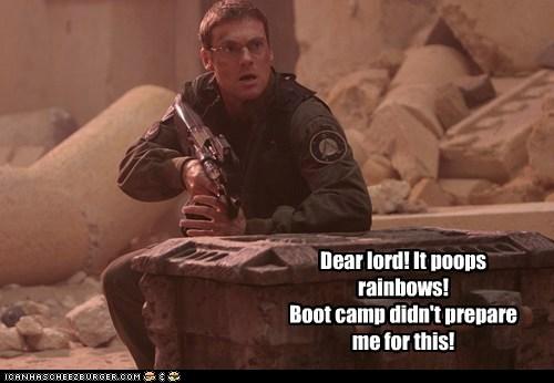 Stargate SG-1 michael shanks daniel jackson Nyan Cat poop rainbows boot camp unprepared scared Stargate - 6584016128