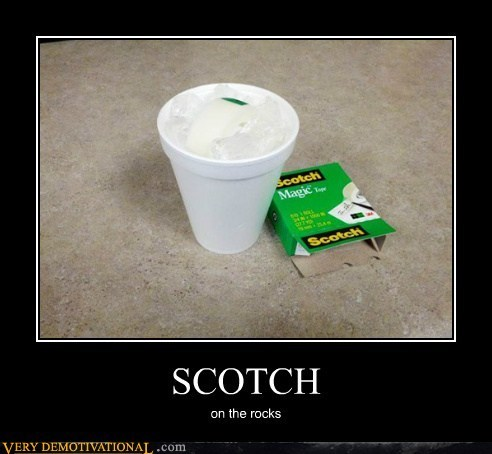 booze ice rocks scotch tape