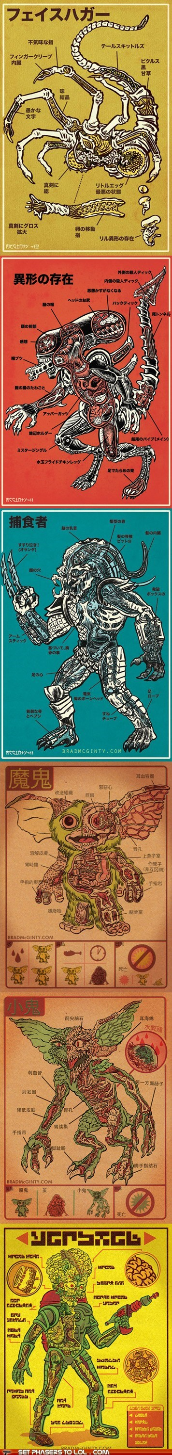 Aliens,anatomy,face huggers,Fan Art,gremlins,mars attacks,martians,mogwai,Predator,xenomorphs