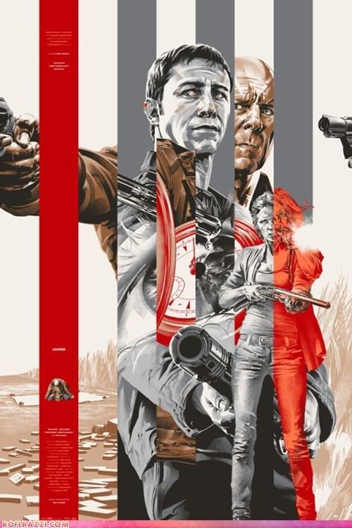 actor art awesome bruce willis celeb Joseph Gordon-Levitt looper Movie poster - 6585528576