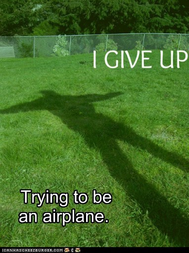 airplane flying give up