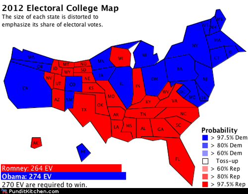 barack obama election 2012 electoral college map Mitt Romney outcome polling prediction