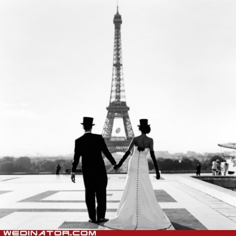 couple eiffel tower france paris top hats