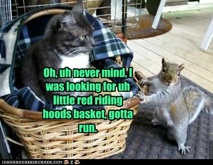 squirrel,cat,never mind,red riding hood,basket,gotta run