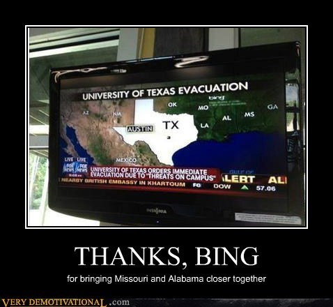 THANKS, BING for bringing Missouri and Alabama closer together