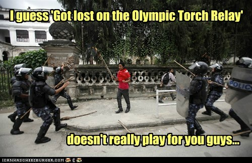 protester riot police olympic torch relay got lost lie